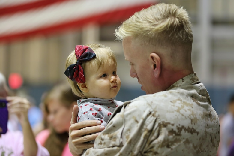 A Marine embraces his loved one during a deployment homecoming aboard Marine Corps Air Station Cherry Point, N.C., Oct. 15, 2016. More than 120 Marines with Marine Tactical Electronic Warfare Squadron 4 returned after a six-month deployment with the United States Central Command aboard Incirlik Air Base in Turkey. According to Lt. Col. Paul K. Johnson III, commanding officer for VMAQ-4, the Marines conducted electronic warfare and disrupted ISIS communications in Iraq and Syria in support of Operation Inherent Resolve. This deployment was the last that VMAQ-4 will participate in because the squadron is scheduled to be deactivated in the summer of 2017. (U.S. Marine Corps photo by Lance Cpl. Mackenzie Gibson/Released)