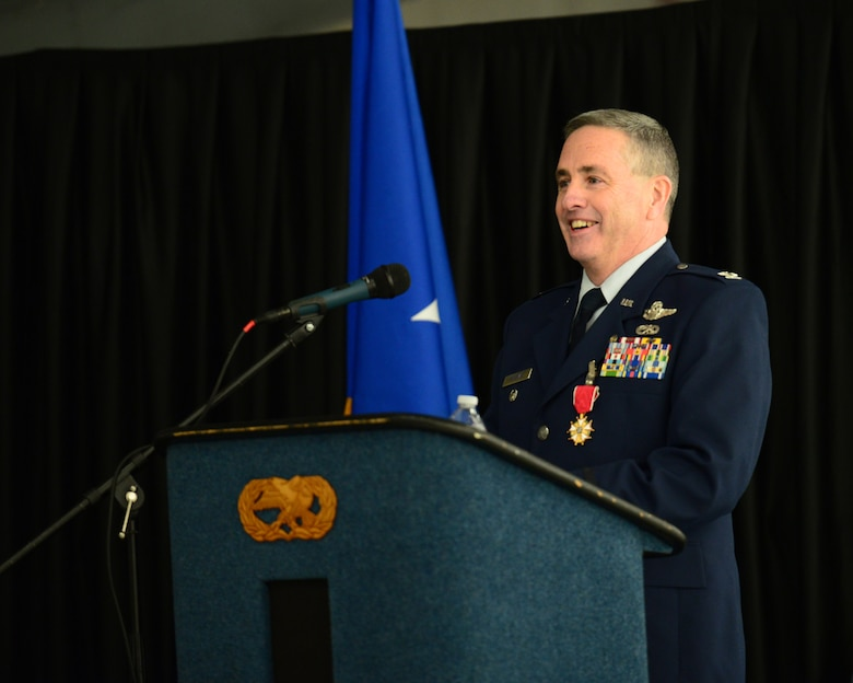 U.S. Air Force Col. Peter Sullivan, 157th Air Refueling Wing vice wing commander, New Hampshire Air National Guard, speaks to family, friends, and members of the 157 ARW during his retirement ceremony, Pease Air National Guard Base, N.H., Oct. 15, 2016.  Sullivan retired with 34 years of service.  (U.S. Air National Guard photo by Senior Airman Ashlyn J. Correia)