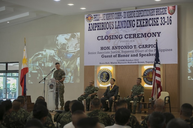 U.S. Marine Brig. Gen. John M. Jansen speaks during the Philippine Amphibious Landing Exercise 33 (PHIBLEX) closing ceremony at Marine Barracks Rudiardo Brown, Taguig City, Philippines, Oct. 11, 2016. PHIBLEX is an annual U.S.-Philippine military bilateral exercise that combines amphibious capabilities and live-fire training with humanitarian civic assistance efforts to strengthen interoperability and working relationships. Jansen is the commanding general of 3d Marine Expeditionary Brigade. (U.S. Marine Corps photo by Sgt. Kathy Nunez/Released)