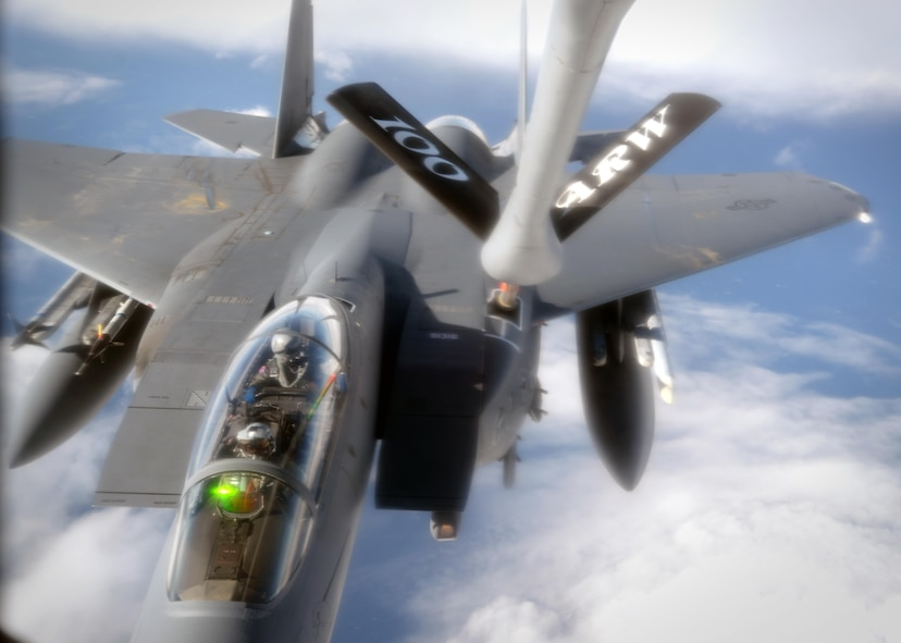 A KC-135 Stratotanker from the 100th Air Refueling Wing at RAF Mildenhall, England, refuels an F-15C Eagle from the 48th Fighter Wing at RAF Lakenheath, England, Oct. 13, 2016, over the North Sea. This refueling mission was in support of Noble Arrow. Noble Arrow is an exercise to train NATO foces through air operations in a realistic high-threat environment, to provide component-level force integration training for NATO Response Force assigned units. (U.S. Air Force photo by Senior Airman Christine Halan)