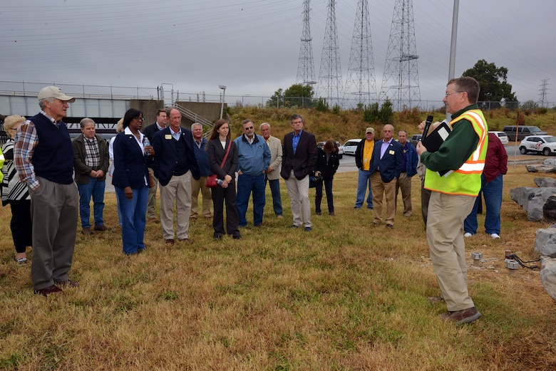 Don Getty, project manager, for the Kentucky Lock Addition Project welcomed Kentucky Lt. Gov. Jenean Hampton and the 12 Tennessee Tombigbee Waterway Development Authority board members to the Kentucky Lock Addition Project at Kentucky Lake Oct. 13, 2016.