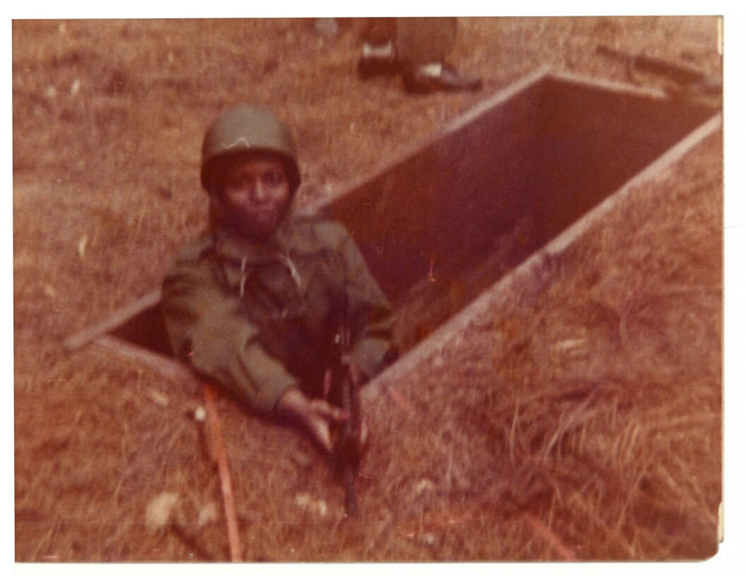 Private Frances Culpepper in a foxhole during basic training in 1975, Fort McCullough, Ala. Culpepper worked through the ranks to retire as a Sgt. Major more than 40-years later. (Photographer unknown)