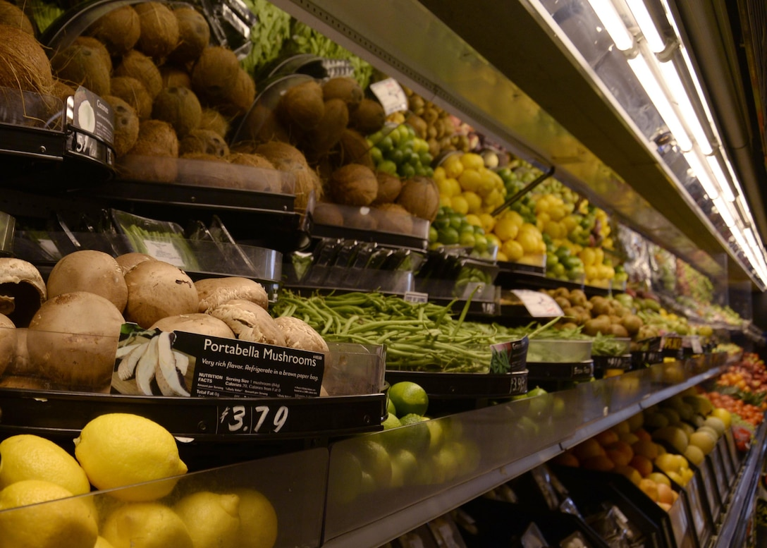 Fresh fruits and vegetables line Commissary shelves at Royal Air Force Lakenheath, England, Oct. 14. Maintaining a healthy diet is an integral part of weight management and living a healthy lifestyle. (U.S. Air Force photo/Airman 1st Class Abby L. Finkel)