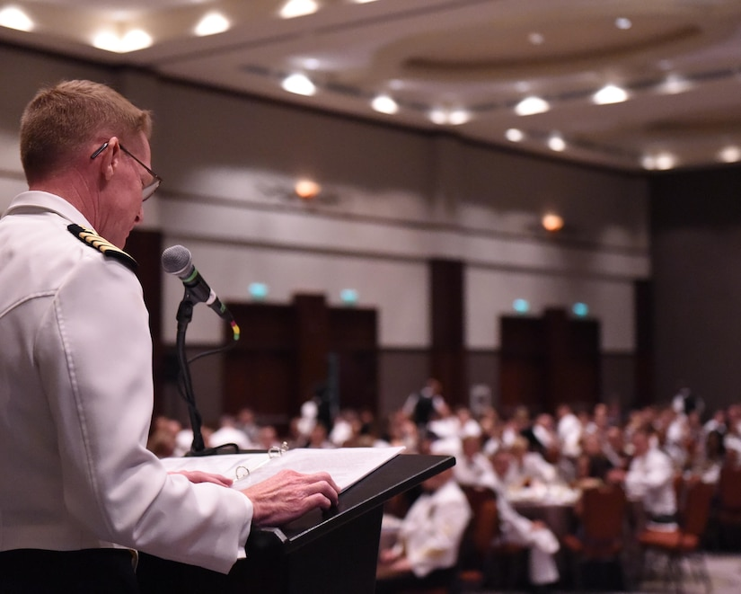 U.S. Navy Capt. Robert Hudson, Joint Base Charleston deputy commander, delivers his keynote address during the Navy Ball at the Embassy Suites Hotel, Oct. 17. The cake cutting ceremony was conducted at the conclusion of Hudson's speech.