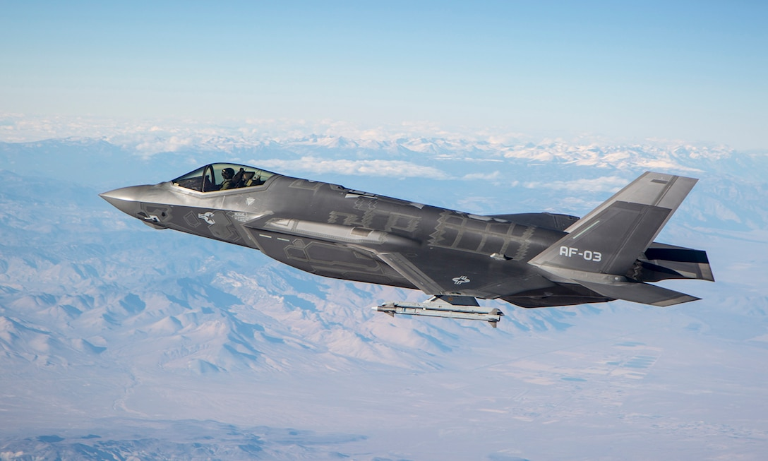 AF-3, Flt 230, Maj. Andrew Rollins flies an F-35 Lightning II above the southern California desert. (U.S. Air Force Photo/Darin Russell