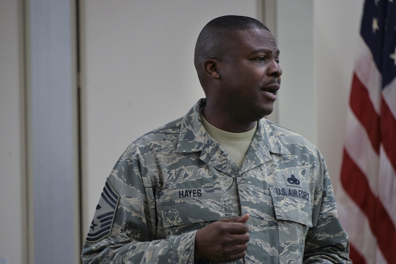 Chief Master Sgt. Henry Hayes, Air Combat Command First Sergeant, gives his final remarks about leadership and being a first sergeant during the Additional Duty First Sergeant Symposium Oct. 17 2016 at Fort George G. Meade, Md. 53 Airmen were selected between the 70th Intelligence, Surveillance and Reconnaissance Wing, Defense Information School, Defense Media Activity, U.S. Cyber Command, 318th Cyber Operations Group, and the 315th Cyber Operations Squadron to participate in 2016 symposium. (U.S. Air Force photo/Staff Sgt. Alexandre Montes)