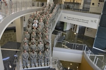 Airmen and First Sergeants attending the Additional Duty First Sergeant Symposium pose for a photo Oct. 17, 2016 at Fort George G. Meade, Md. 53 Airmen were selected between the 70th Intelligence, Surveillance and Reconnaissance Wing, Defense Information School, Defense Media Activity, U.S. Cyber Command, 318th Cyber Operations Group, and the 315th Cyber Operations Squadron to participate in 2016 symposium. (U.S. Air Force photo/Staff Sgt. Alexandre Montes)
