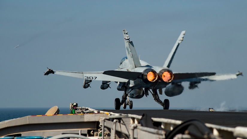 161016-N-IE397-195  ARABIAN GULF (Oct. 16, 2016) An F/A-18C Hornet assigned to the Wildcats of Strike Fighter Squadron (VFA) 131 launches from the flight deck of the aircraft carrier USS Dwight D. Eisenhower (CVN 69) (Ike). Ike and its Carrier Strike Group are deployed in support of Operation Inherent Resolve, maritime security operations and theater security cooperation efforts in the U.S. 5th Fleet area of operations. (U.S. Navy photo by Seaman Christopher A. Michaels)