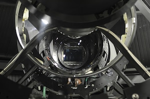 An internal view of the Space Surveillance Telescope's structure, including the wide-field camera, center. DoD photo