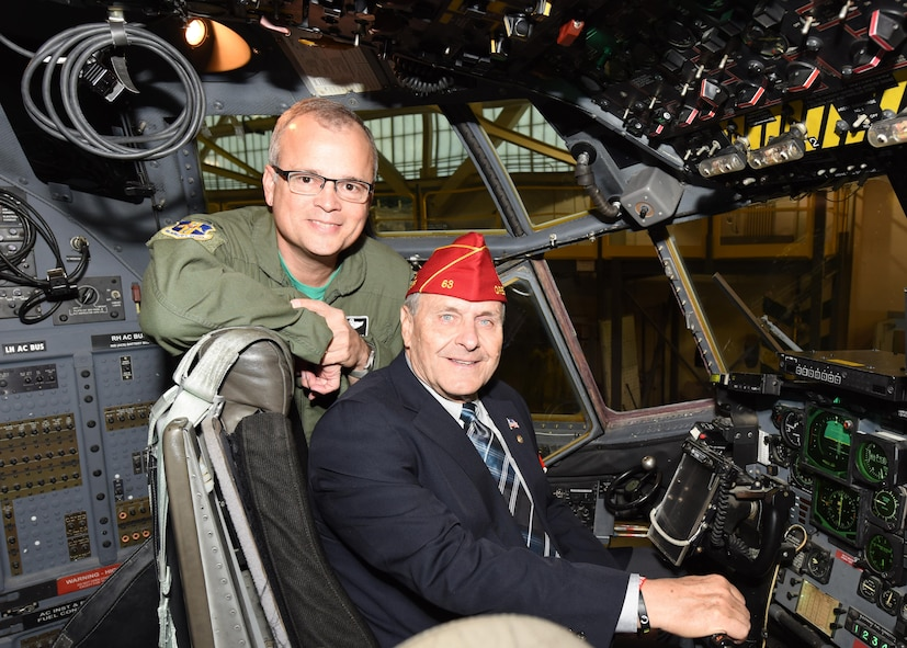 American Legion National Commander Charles E. Schmidt sits in the pilot's seat of a C-130 aircraft during a static tour conducted by 914th Airlift Wing commander Col. Brian Bowman at the Niagara Falls Air Reserve Station, N.Y. October 14, 2016.  (U.S. Air Force photo by Peter Borys)