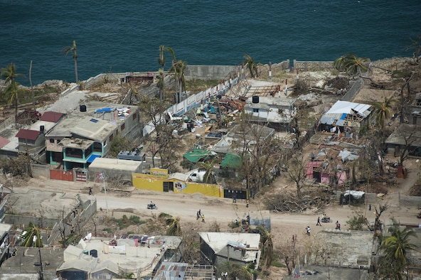 Jeremie, the Grande'Anse department capital in western Haiti, was hit hard by Hurricane Matthew Oct. 4, 2016. U.S. forces have been working alongside Haitian citizens as part of Joint Task Force Matthew to provide relief. (U.S. Air Force photo/Tech. Sgt. Russ Scalf)