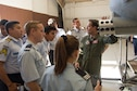 U.S. Air Force Lt. Col. Colin Donnelly, 355th Operations Group deputy commander, briefs cadets from various academies throughout Latin America on the capabilities of the A-10 Warthog on Davis-Monthan Air Force Base, Ariz., Oct. 13, 2016.  Cadets from Argentina, Brazil, Chile, Colombia, Dominican Republic, El Salvador, Honduras, Guatemala, Mexico, Nicaragua, Paraguay, Peru and Uruguay took part in the three-week visit to the U.S. as part of the Latin American Cadet Initiative. (U.S. Air Force photo by Staff Sgt. Adam Grant)