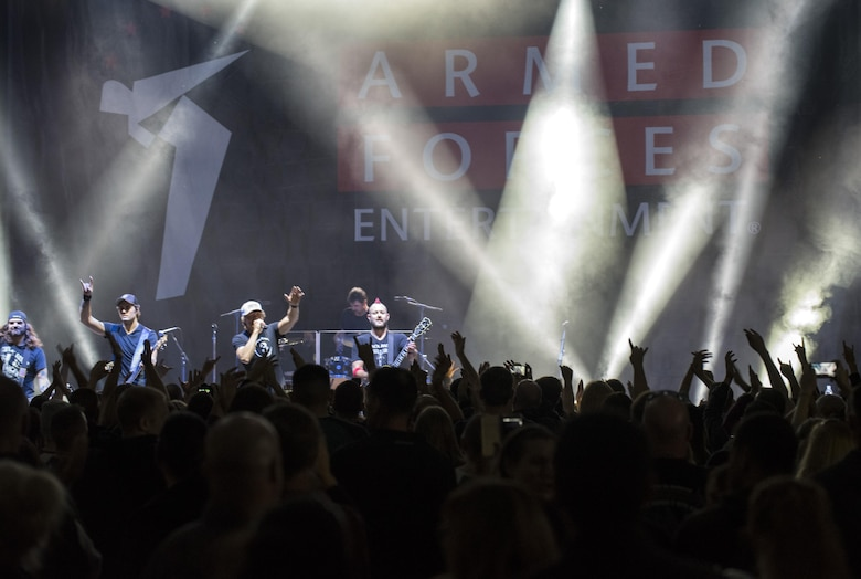 Members of 3 Doors Down, an American rock band from Escatawpa, Miss., perform a show for 52nd Fighter Wing inside Hangar 1 at Spangdahlem Air Base, Germany, Oct. 16, 2016. The free concert was a part of the Armed Forces Entertainment tour, an Air Force command operation, which brings entertainment to U.S. military personnel serving overseas. This marks the band's third time touring with AFE. (U.S. Air Force photo by Airman 1st Class Preston Cherry)