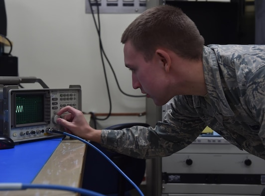 Airman 1st Class William Matlock, 437th Maintenance Squadron electronics technician, uses a spectrum analyzer on Oct. 4, 2016, at Joint Base Charleston, South Carolina. The spectrum analyzer is used to test signal distortion, noise, and modulation for various radio frequencies.