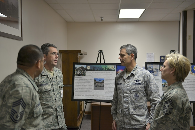 U.S. Air Force Col. William Reynolds, the 354th Medical Group commander, speaks with Lt. Gen. Ken Wilsbach, the 11th Air Force commander, Oct. 13, 2016, at Eielson Air Force Base, Alaska. Reynolds and Wilsbach spoke about how the environment impacts Airmen's health and the importance of being mission ready at all times. (U.S. Air Force photo by Airman Isaac Johnson)