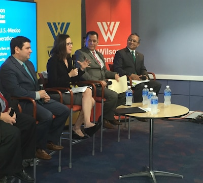 From left, Inigo Guevara Moyano, senior consultant at IHS Jane's Aerospace, Defense and Security; Rebecca B. Chavez, deputy assistant secretary of defense for western hemisphere affairs; Mexican Navy Vice Adm. Octavio Trejo Hermida; and Mexican Army Brig. Gen. Andres Fernando Aguirre O.sunza, participate in a panel discussion at the Wilson Center in Washington, Oct. 17, 2016. Chavez said the U.S.-Mexico military-to-military relationship is excellent and continues to improve. DoD photo by Jim Garamone