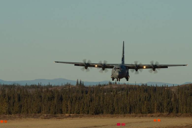A U.S. Air Force C-130J Super Hercules from Dyess Air Force Base, Texas, lands at Donnelly Landing Zone, Alaska, during exercise RED FLAG-Alaska 17-1, Oct. 14, 2016. RF-A is a series of Pacific Air Forces commander-directed field training exercises for U.S. and partner nation forces, providing combined offensive counter-air, interdiction, close air support, and large force employment training in a simulated combat environment. (U.S. Air Force photo by Master Sgt. Joseph Swafford)