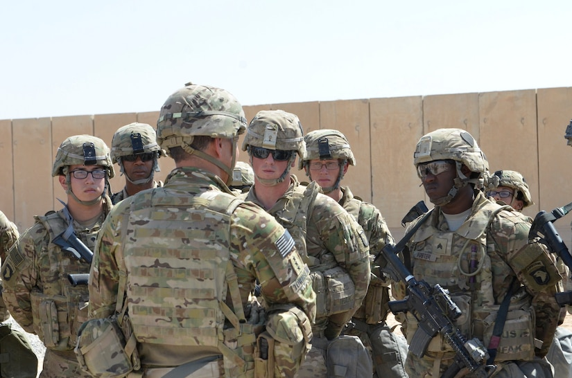 Lt. Gen. Stephen J. Townsend, commander Combined Joint Task Force Operation Inherent Resolve, visits Task Force Strike, 101st Airborne Division (Air Assault) at Qayyarah West Airfield, Iraq. Coalition troops arrived to Qayyarah West Airfield to enable the Iraqi Security Forces to defeat Da'esh by providing logistical, engineering and artillery fires in support of the liberation of Mosul. The mission of Operation Inherent Resolve is to defeat Da'esh (an Arabic acronym for ISIL) in Iraq and Syria by supporting the Government of Iraq with trainers, advisors and fire support, to include aerial strikes and artillery fire. (USMC photo by Capt. Ryan E. Alvis/Released)