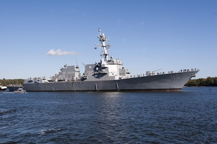 BATH, Maine (October 18, 2016) – The future USS Rafael Peralta (DDG 115) sets sail for the first time to conduct initial at-sea builder's trials off the coast of Maine.