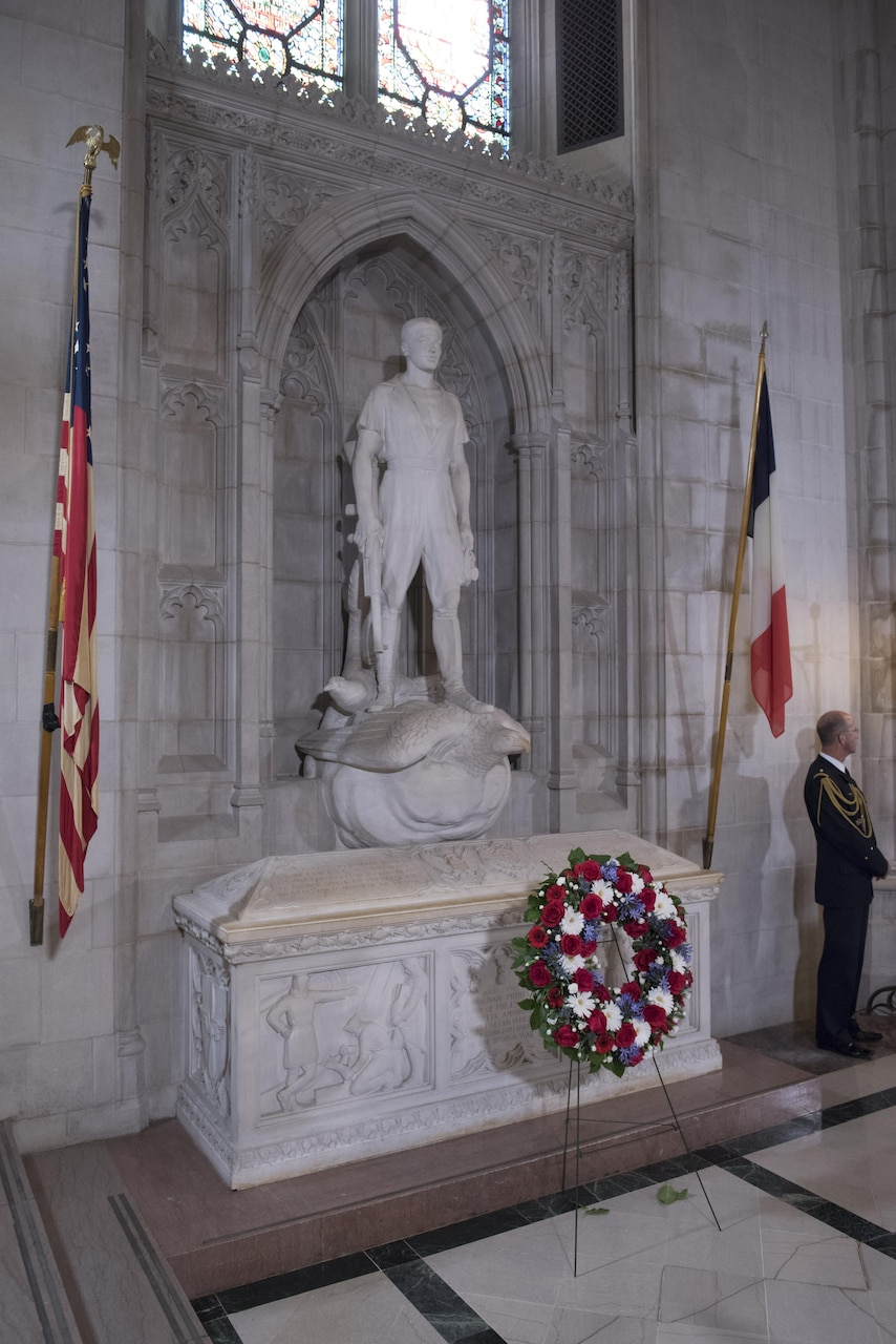 The tomb and statue marking Norman Prince's final resting place at the National Cathedral in Washington, Oct. 14, 2016. Courtesy photo