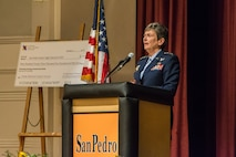 Air Force Materiel Command Commander Gen. Ellen M. Pawlikowski speaks to students at San Pedro High School Oct. 7, 2016, during the school's kickoff of the National Math and Science College Readiness Program. The general visited the school as part of the program's launch, which focuses on science, technology, engineering and mathematics classes. (Courtesy photo)