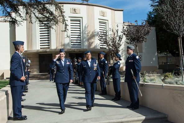 Air Force Materiel Command Commander Gen. Ellen M. Pawlikowski visits with Air Force Junior ROTC Unit CA-956 during her visit to San Pedro High School in Los Angeles, Oct. 7, 2016. The general delivered the keynote speech at the school's kickoff of the National Math and Science Initiative's College Readiness Program. The program focuses on science, technology, engineering and mathematics classes. (Courtesy photo)