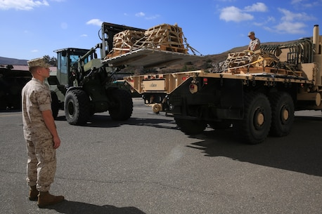 U.S. Marines from Combat Logistics Regiment 15 properly place pallets, filled with the M-88A2's armored side skirts and front winch at Camp Pendleton, Calif., Oct. 3, 2016. The pieces were removed from the M-88A2 HERCULES to the reduce risk of parts coming loose and causing a safety hazard during the flight to Marine Corps Air Ground Combat Center Twentynine Palms, Calif.
