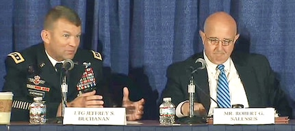 Lt. Gen. Jeffrey Buchanan (left), U.S. Army North (Fifth Army) commanding general, speaks on the unity of effort in defending and securing the homeland, along with Robert Salesses (right), Deputy Assistant Secretary of Defense for  Homeland Defense Integration and Defense Support of Civil Authorities, at the Association of the United States Army annual meeting in Washington, D.C., Oct. 5.