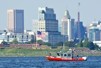 A Coast Guard 25-foot Response Boat-Small takes part in security duties for Maryland Fleet Week and Air Show in Baltimore, Oct. 16, 2016. Coast Guard photo by Petty Officer 2nd Class Lisa Ferdinando