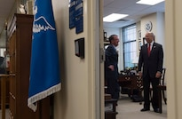 Homeland Security Secretary Jeh Johnson meets with Defense Secretary Ash Carter in Johnson's office at DHS headquarters in Washington, Oct. 19, 2016. Carter presented Johnson with the Defense Department's Distinguished Public Service Award, the department's highest honor for private citizens and non-career public servants. DoD photo by Navy Petty Officer 1st Class Tim D. Godbee