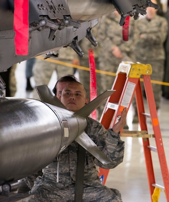 Staff Sgt. Ryan Reyes, 389th Aircraft Maintenance Unit weapons load crew chief, helps position a training munition to be secured to his team's F-15E Strike Eagle during a load event Oct. 14, 2016, at Mountain Home Air Force Base, Idaho. The event highlights the skills of the load crew members and gives spectators a rare glimpse of what goes into loading an F-15E. (U.S. Air Force photo by Airman Jeremy D. Wolff/Released)