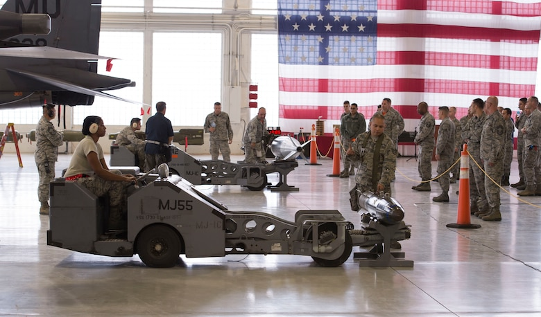 391st and 389th Aircraft Maintenance Unit load crews guide their munitions lift trucks to pick up their training munitions during a load competition Oct. 14, 2016, at Mountain Home Air Force Base, Idaho. The vehicle is an integral part of the loading process as some munitions can weigh several hundred pounds.