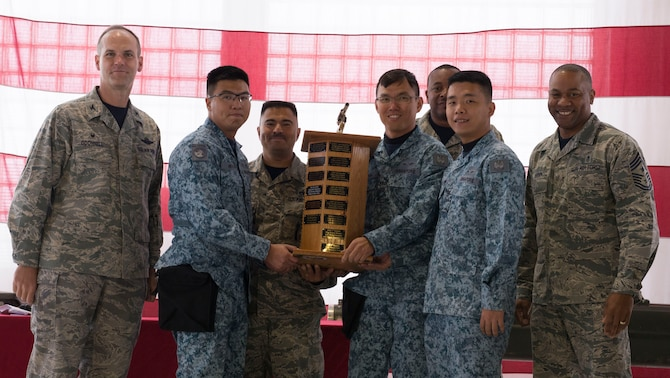 366th Fighter Wing commander Col. Jefferson O'Donnell presents 428th Aircraft Maintenance Unit flight line crew members with the 1st place load competition trophy Oct. 14, 2016, at Mountain Home Air Force Base, Idaho. The 428th Fighter Squadron has been participating in the quarterly event since 2009. (U.S. Air Force photo by Airman Jeremy D. Wolff/Released)