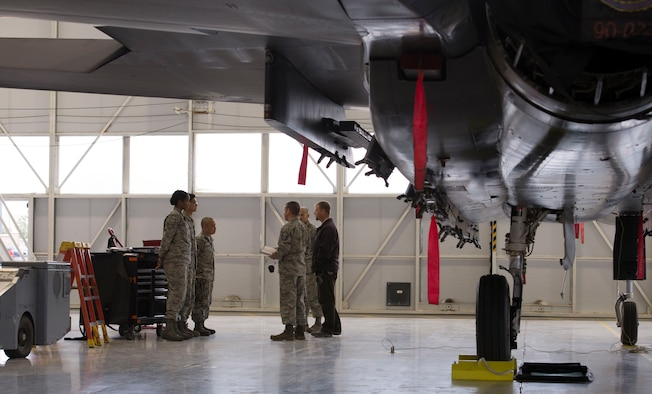 A 389th Aircraft Maintenance Unit load crew is briefed before a load competition begins Oct. 14, 2016, at Mountain Home Air Force Base, Idaho. The event has been a quarterly affair on base since 1964. (U.S. Air Force photo by Airman Jeremy D. Wolff/Released)