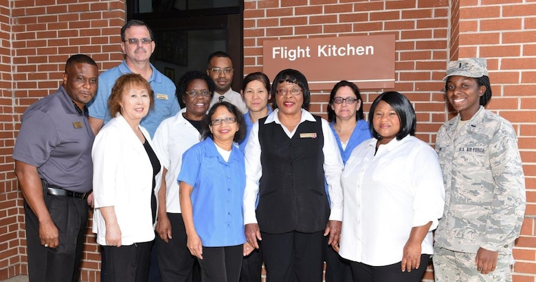 This is the team that makes everything happen at the Flight Kitchen, located just east of the Team JSTARS flight line. The kitchen is open 24 hours a day, seven days a week, serving all military personnel, mission essential civilians, federal civilians on a letter, ROTC, Civil Air Patrol, and scouting groups visiting the base. (U.S. Air National Guard photo by Senior Master Sgt. Roger Parsons)