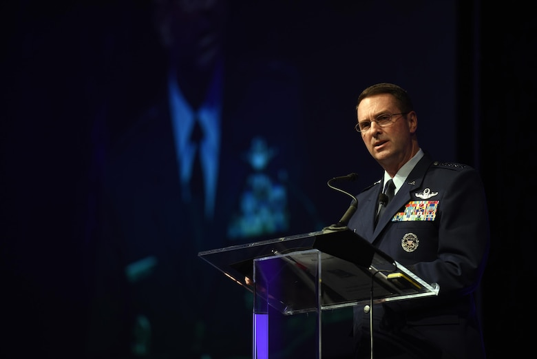 Gen. Joseph Lengyel, chief of National Guard Bureau, addresses an audience at the North American International Cyber Summit 2016 in Detroit, Oct. 17, 2016. Hosted by Michigan Gov. Rick Snyder, the summit was a collaborative effort with the National Governors Association, the Department of Homeland Security, private industry, educators, students and local partners. (U. S. National Guard photo/Sgt. 1st Class Jim Greenhill)