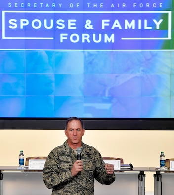 Air Force Chief of Staff Gen. David L. Goldfein speaks to attendees of the Secretary of the Air Force Spouse and Family Forum at Joint Base Andrews, Md., Oct. 19, 2016. (U.S. Air Force photo/Scott M. Ash)