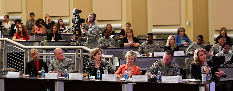 Secretary of the Air Force Deborah Lee James asks a question during a panel discussion at the Secretary of the Air Force Spouse and Family Forum at Joint Base Andrews, Md., Oct. 19, 2016. (U.S. Air Force photo/Scott M. Ash)