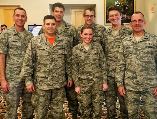 Back row: Col. Matthew Carroll, Capt. Alan Bartholomew, Capt. Jess Anderson, Capt. Geoffrey Bader