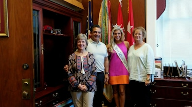 Miss Mississippi, Laura Lee Lewis, visited MVD late September. Lewis is from Brookhaven, Mississippi. She was crowned in Vicksburg, Mississippi in July. Picture here left to right are: Patti Beard, Executive Secretary MVD, Chuck Camillo, Executive Director, Mississippi River Commission, Miss Mississippi, Laura Lee Lewis, and Edie Wittington MRC Administrative Officer.