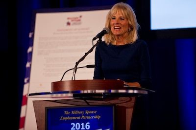 Dr. Jill Biden, the wife of Vice President Joe Biden, speaks at a Department of Defense Military Spouse Employment Partnership event in Washington, Oct. 17, 2016.  Biden, who helped to launch the initiative in 2011, applauded the 335 companies who have partnered with MSEP, as well as the 50 new businesses that were inducted as partners during the event. DoD photo by Lisa Ferdinando