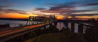 The Mississippi River in all its spender as the sun sets.