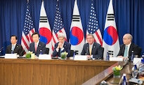 Defense Secretary Ash Carter speaks during the beginning of the U.S.-South Korea consultative talks at the State Department in Washington, Oct. 19, 2016. South Korean Defense Minister Han Min-koo, left, South Korean Foreign Minister Yun Byung-se and Secretary of State John Kerry also participated in the talks. DoD photo by Army Sgt. Amber I. Smith