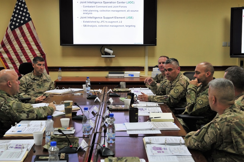 U.S. Army Central key personnel discuss experiences and share ideas during a targeting seminar at Camp Arifjan, Kuwait Oct. 12, 2016. The open forum seminar allowed key leaders to learn and discuss important strategies and doctrine concerning the concept of joint targeting. (U.S. Army photo by Sgt. Aaron Ellerman)