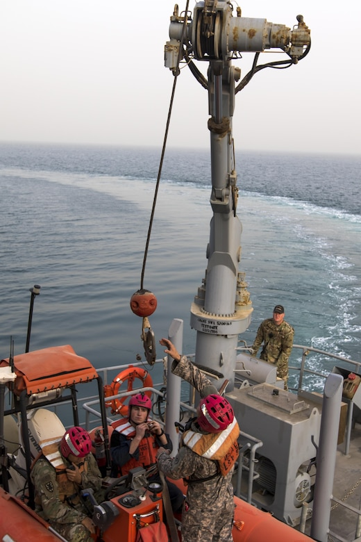 Army mariners from the 411th Transportation Detachment prepare to be deployed on the Arabian Gulf during a man overboard drill on the MG Charles P. Gross (Logistics Support Vessel-5), October 3, 2016. The U.S. Army Central-assigned unit practices drills while moving into international waters to maintain its readiness.  (U.S. Army photo by Sgt. Brandon Hubbard, USARCENT Public Affairs)