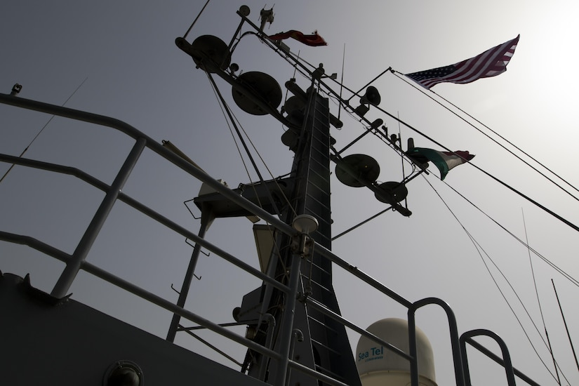 The MG Charles P. Gross sails in the Arabian Gulf to travel to international waters for weapons training, Oct. 3, 2016. (U.S. Army photo by Sgt. Brandon Hubbard)