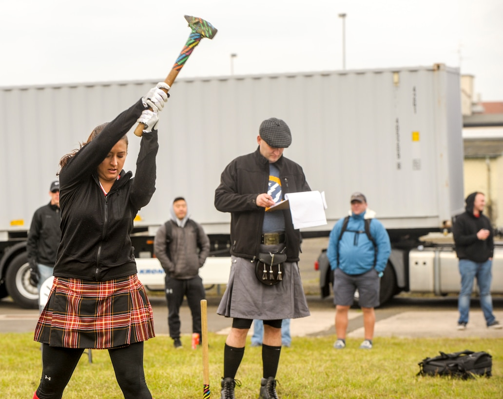 First Lt. Stephanie Riley, 693rd Intelligence Support Squadron, winds up her throw during a hammer throw competition during the 693rd Intelligence, Surveillance and Reconnaissance Group's 5th Annual Highland Games in Wiesbaden, Germany, Oct. 14, 2016. Modeled after the Scottish Highland Games, the 693rd ISRG's games tested the strength and endurance of competitors as they took a break from work to build camaraderie and morale. (U.S. Air Force photo by Staff Sgt. Timothy Moore)