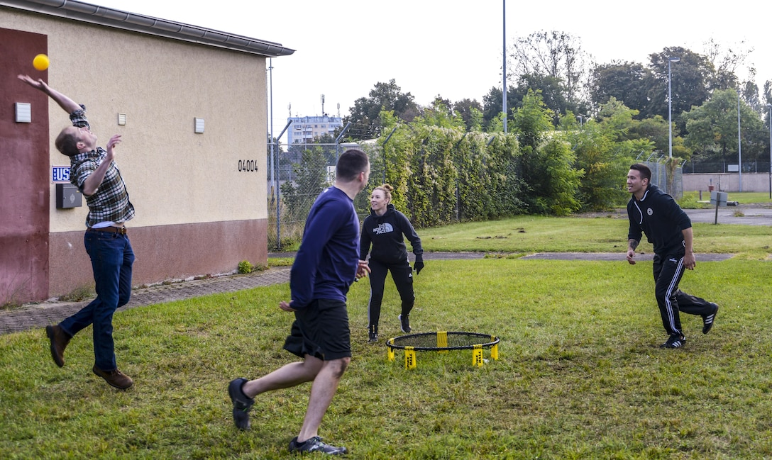 Members of the 693rd Intelligence, Surveillance and Reconnaissance play a game during the 693rd Intelligence, Surveillance and Reconnaissance Group's 5th Annual Highland Games in Wiesbaden, Germany, Oct. 14, 2016. Leaders of the 693rd ISRG encouraged service members and their families to attend the competition to cheer on competitors and enjoy each other's company outside of a work environment. (U.S. Air Force photo by Staff Sgt. Timothy Moore)