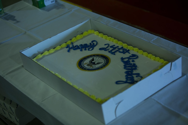 The 241st Navy birthday cake from the Marines to the sailors displayed before the cutting of the cake ceremony at Camp Wilson, Calif., Oct. 13, 2016. The Navy was established on Oct 13, 1775 making this year the 241st anniversary since its commissioning. Marines and sailors from 1st Battalion, 2nd Marine Regiment, 2d Marine Division and 4th Marine Regiment, 3d Marine Division gathered for the reading of the commandant's message and the cutting of the cake ceremony, signifying the passing of Naval heritage from the oldest to the youngest sailor among the units. (U.S. Marine Corps photo by Lance Cpl. Juan A. Soto-Delgado)