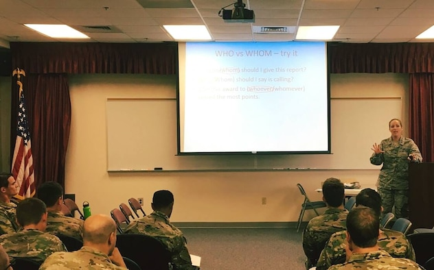 Maj. Erin Karl teaches a class on English and grammar at the 21st Special Tactics Squadron at Fort Bragg, North Carolina. The commander of the Air Force combat controller unit sought help for his office staff, who were spending too much time correcting simple grammar, punctuation and usage errors in reports and forms submitted by squadron members.